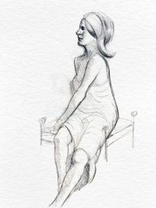 Girl sitting, graphite. © Tom Zahler, 2018