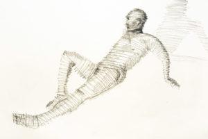 Andreas reclining, graphite. © Tom Zahler, 2018