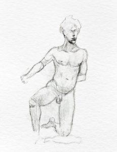 Dorian kneeling, graphite. © Tom Zahler, 2018