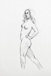 Paola posing, graphite. © Tom Zahler, 2018