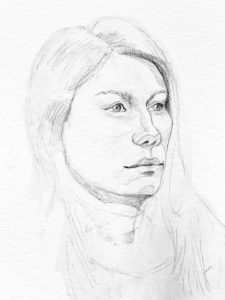 Russian girl portrait, graphite. © Tom Zahler, 2018